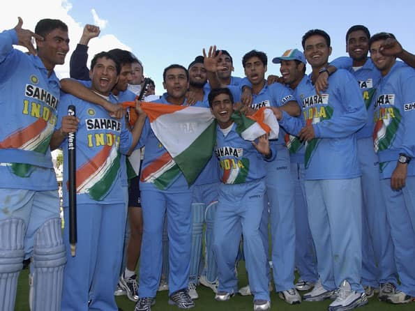 Indian team celebrating their historic win in the 2002 NatWest Series final against England © Getty Images