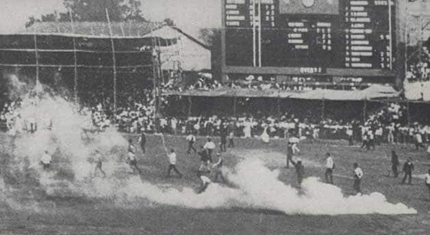 The match witnessed one of the bloodiest riots ever to be seen on a cricket field