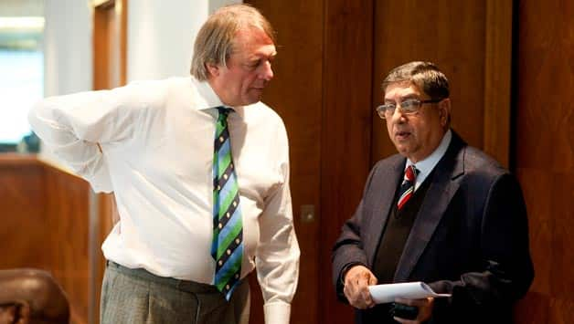 ECB's Giles Clarke (left) and BCCI's N Srinivasan © Getty Images
