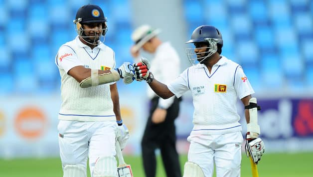 Kumar Sangakkara (left) and Kaushal Silva played with cation to frustrate the Pakistan bowling © AFP