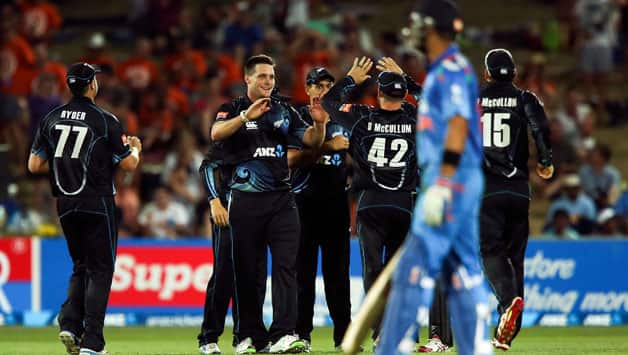 New Zealand bowlers chipped in with regular wickets to derail India's chase © Getty Images