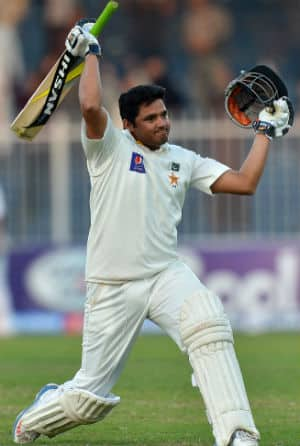 Azhar Ali scored 103 off 137 deliveries to script Pakistan's remarkable victory over Sri Lanka in the third Test at Sharjah © AFP