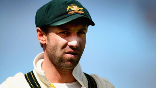 Phillip-Hughes-of-Australia-looks-on-during-day-five-of-the-First-Test-match-between-Australia-and-Sr