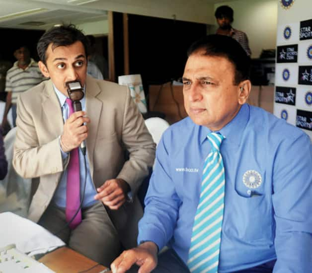 Rohan Gavaskar (left) took a few tips from his father in the coomentary box Photo Courtesy - Shraddha Bhargava Chaturvedi-DNA