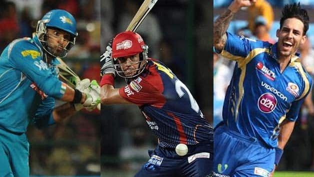 From left: Yuvraj Singh, Kevin Pietersen, Mitchell Johnson were the high earners © IANS & AFP