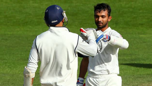Ajinkya Rahane (right) scored 118 in India's first innings of the second Test against New Zealand © Getty Images
