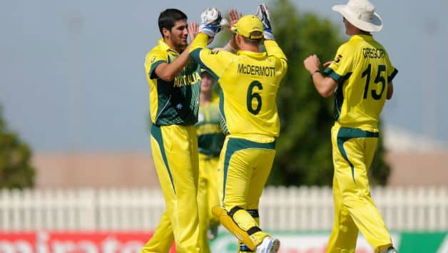 Australian pacers picked early wickets but couldn't control Nicolas Pooran  Photo Courtesy: Official Website of the ICC