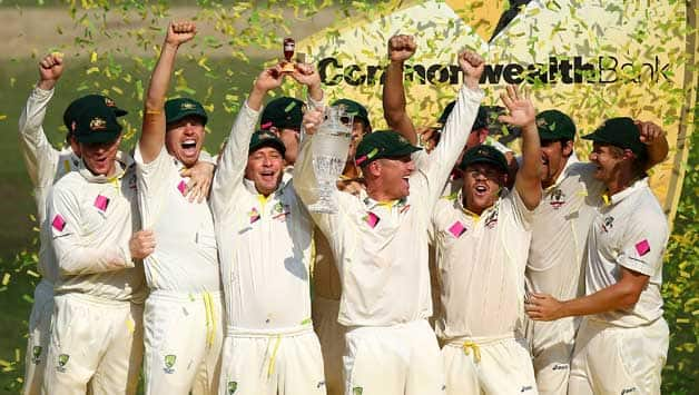 Australian players celebrate their most famous Ashes win in recent memory © Getty Images