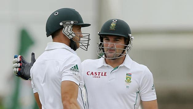 Dean Elgar (right) and Faf du Plessis recovered the South African innings after the early blows © Getty Images