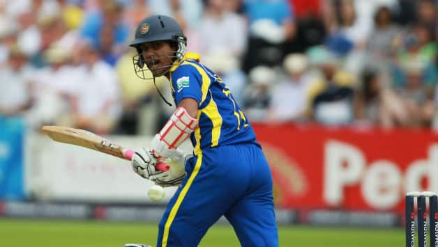 Dinesh Chandimal of Sri Lanka hits out during the 3rd Natwest One Day International Series