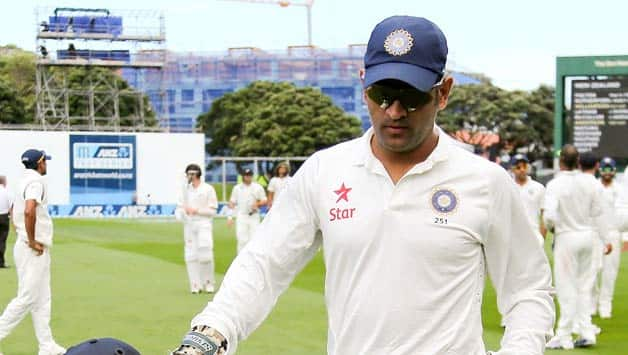 MS-Dhoni-of-India-leaves-the-field-for-lunch-during-day-one-of-the-2nd-Test-match-between-Ne