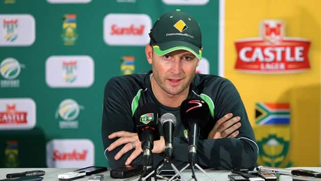Michael-Clarke-of-Australia-speak-to-media-at-a-post-match-press-conference-during-day-four-of-the-Second-3