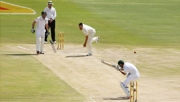 Mitchell Johnson bowled at a fiery pace throughout South Africa's first innings © Getty Images