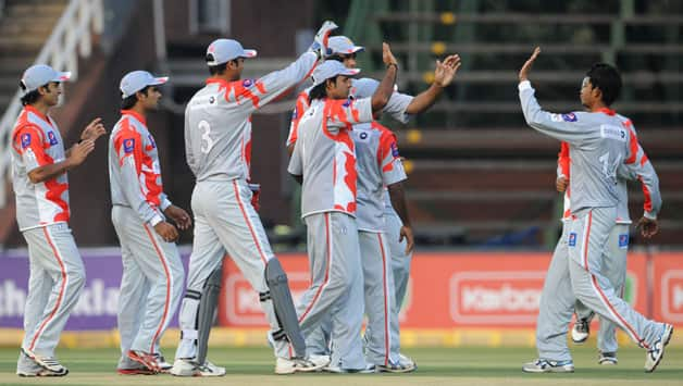 Players-of-Sialkot-Stallions-celebrate-the-wicket-of-Michael-Carberry-of-Hampshire-during