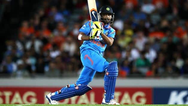 Ravindra-Jadeja-of-India-bats-during-the-One-Day-International-match-between-New