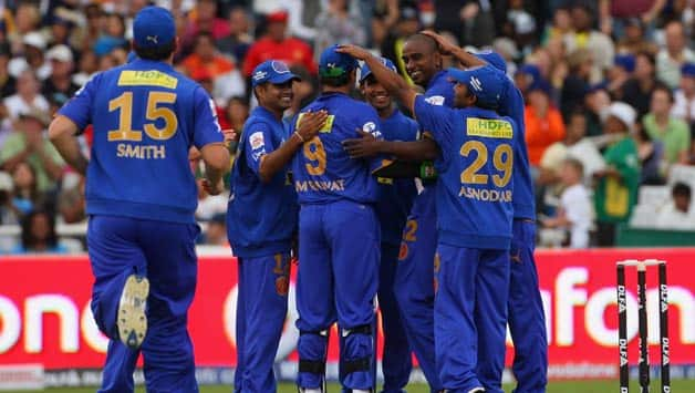 Dimitri-Mascarenhas-(r)-of-Rajasthan-is-congratulated-after-taking-the-wicket-of-Jesse-Ryder-of-Bangalore-during-the-IPL-T20-match-between-Rajasthan-Royals-and-Royal-Challengers-Bangalore