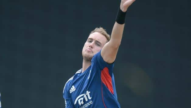 England-captain-Stuart-Broad-bowls-during-a-nets-session-at-Sir-Vivian-Richards-Stad