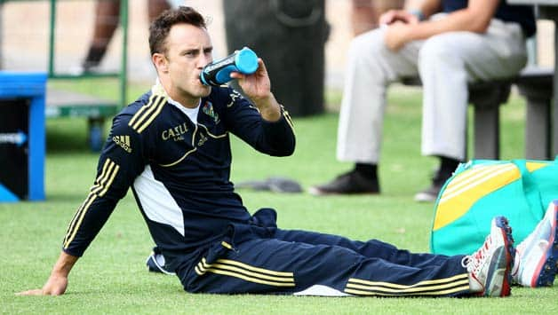 If Faf du Plessis (above) fails to recover in time for the opening encounter, AB de Villiers will lead the team © Getty Images