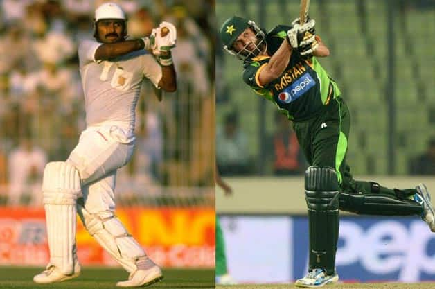 Javed Miandad (left) and Shahid Afridi... Both batsmen hit sixes win respective matches for Pakistan against India © Getty Images & AFP