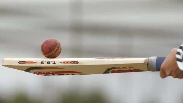 A-cricket-bat-and-ball-during-the-Third-Test-match