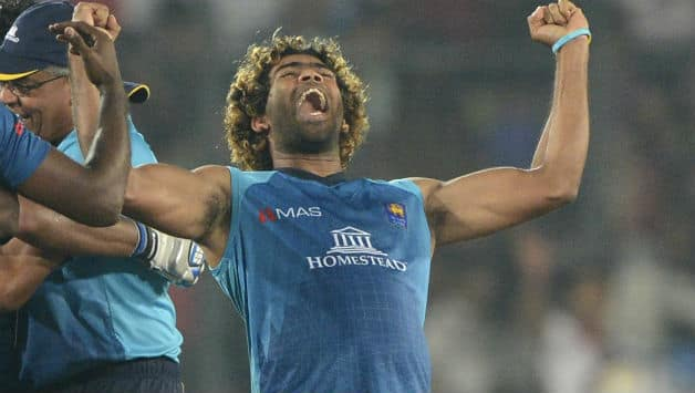 Lasith Malinga reacts after Sri Lanka won