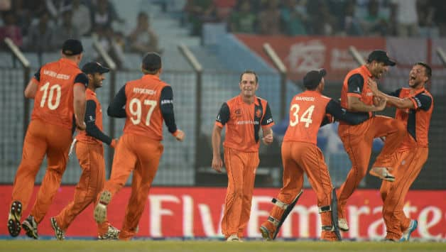 Netherlands players celebrates after running out Tim Bresnan of England during the ICC World Twenty20 Bangladesh 2014 Group 1 match between England and the Netherlan