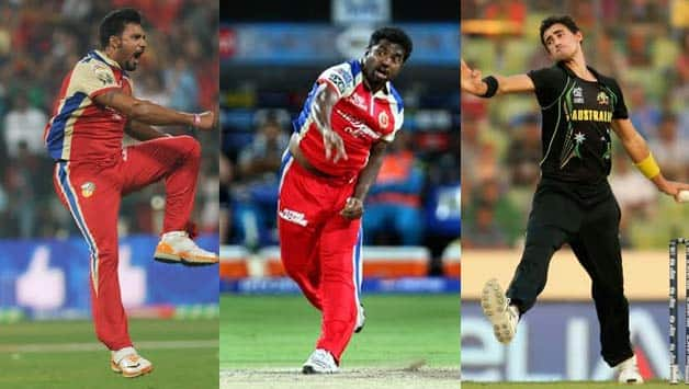 From left: Ravi Rampaul, Muttiah Muralitharan and Mitchell Starc are RCB's foreign bowling contingent © IANS & Getty Images
