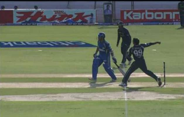 The wrong replay shows Tendulkar at the non-striker's end and Amit Mishra had some part of the foot behind the line