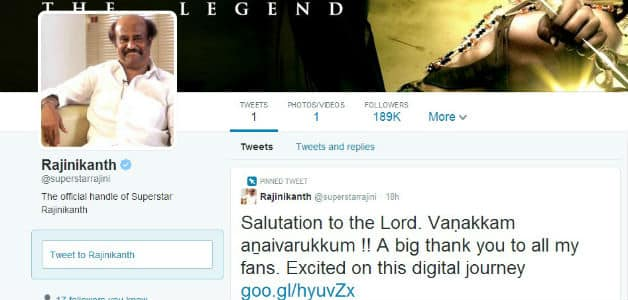 Within a few hours, Rajanikanth had more than 100,000 followers   Photo Courtesy: Official Twitter account of Rajanikanth