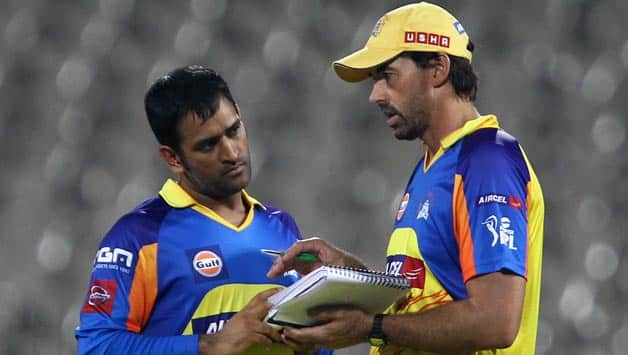 Stephen Fleming (right) said he tries to provide MS Dhoni with two months of enjoyment with CSK © IANS