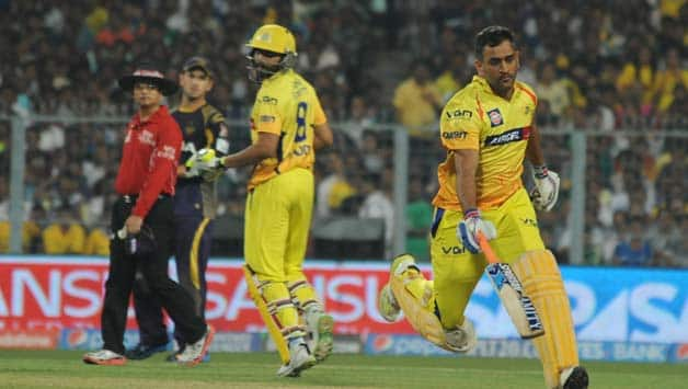 MS Dhoni (right) was denied a run due to a new rule in the MCC regarding high full-tosses © IANS