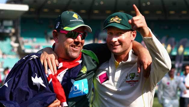 Michael Clarke (right) praised the influence of coach Darren Lehmann as Australia reclaimed the No 1 spots in the Test and ODI rankings © Getty Images