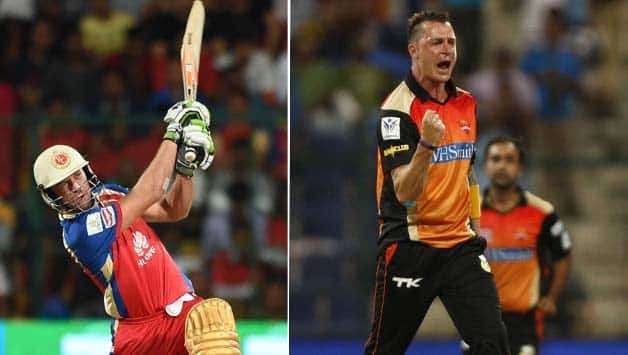 In IPL 2012, RCB needed 39 in 18 balls when AB de Villiers (left) hammered 23 in an over from Dale Steyn. In 2014, he hit 24 © IANS