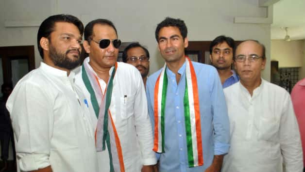 Mohammad Azharuddin (second from left) and Mohammad Kaif (third from left) are contesting from Congress tickets © IANS