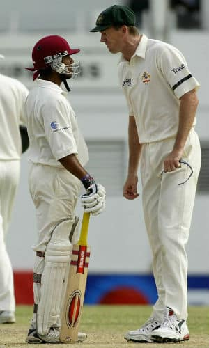 David Shepherd intervened at this point and Glenn McGrath's teammates Matthew Hayden and Justin Langer came to his support © Getty Images