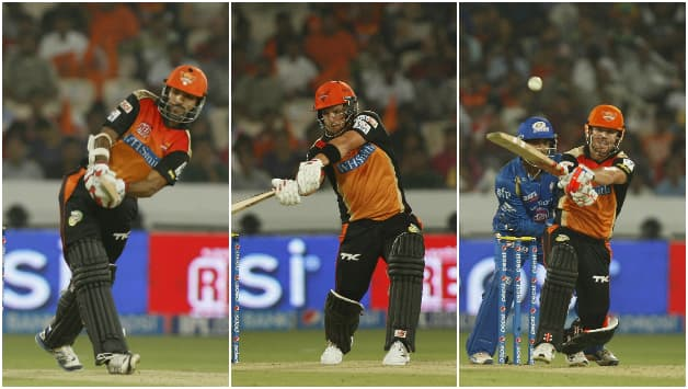 From left: Shikhar Dhawan, Aaron Finch and David Warner have the burden of scoring the runs for Sunrisers Hyderabad © IANS