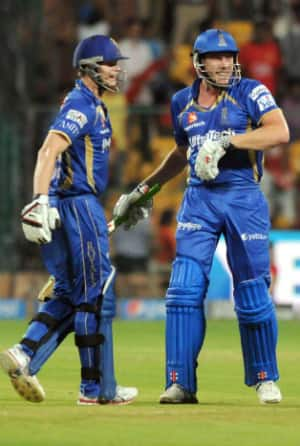 Steven Smith (left) and James Faulkner shared an unbeaten 85-run stand for the sixth wicket for Rajasthan Royals © IANS