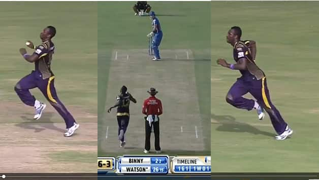 Andre Russell's much discussed bowling antics. Photo Courtesy - Screenshots