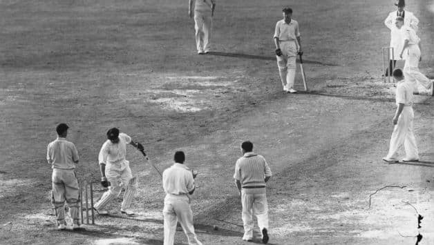 Don Bradman is bowled for a second ball duck by a googly from Eric Hollies in Australia's first innings of the the final Test against England at The Oval © Getty Images