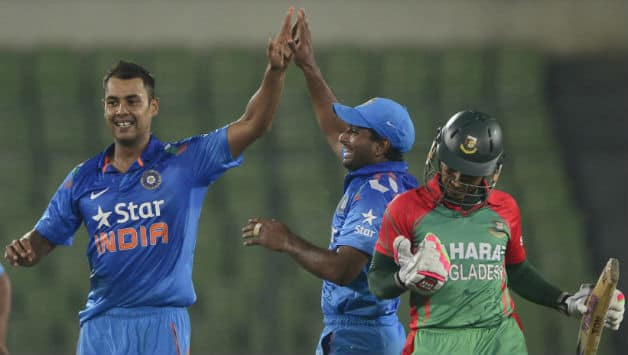 India had a lot to celebrate in the game against Bangladesh © AFP