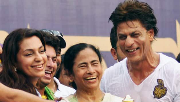(From Left) Juhi Chawla, Mamata Banerjee and Shahrukh Khan celebrate Kolkata Knight Riders' IPL 2014 victory at the Eden Gardens © PTI