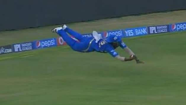 Kieron Pollard, with a superman-like effort, took arguably the greatest catch in cricket history.