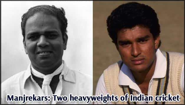 Vijay Manjrekar (left) and son Sanjay scored a total of 5,251 runs in Test cricket © Getty Images
