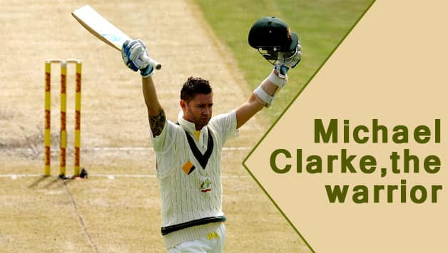 Michael Clarke (above) celebrates his century after showing warrior-like spirit to withstand the barrage of bouncers from Morne Morkel © Getty Images