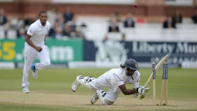 Nuwan Pradeep (right) got out in a comical manner during the first Test at Lord's © Getty Images