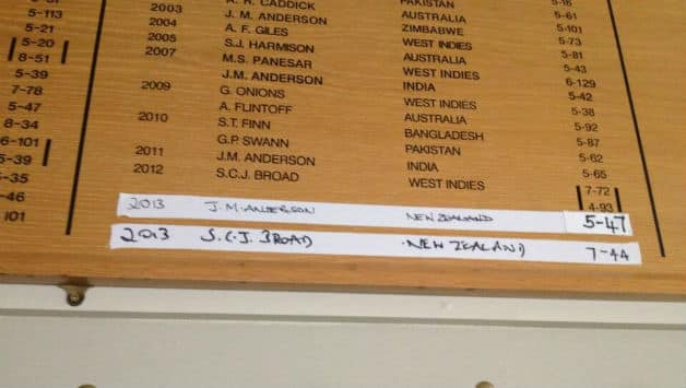Lord's board for bowlers Photo Courtesy: Jonathanagnewsite