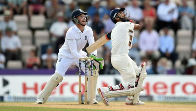 Ajinkya Rahane had posted a fifty until he miscued a pull shot off Moeen Ali © Getty Images