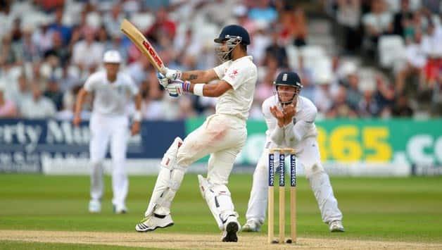 India-batsman-Virat-Kohli-pulls-a-ball-towards-the-boundary-during-day-four