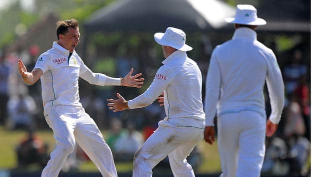 Dale Steyn (left) grabbed nine wickets at Galle © AFP