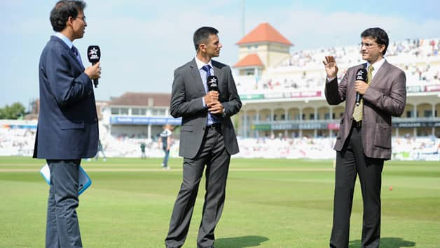 Harsha Bhogle tried to be the neutral referee in the banter between Rahuul Dravid (centre) and Sourav Ganguly © Getty Images